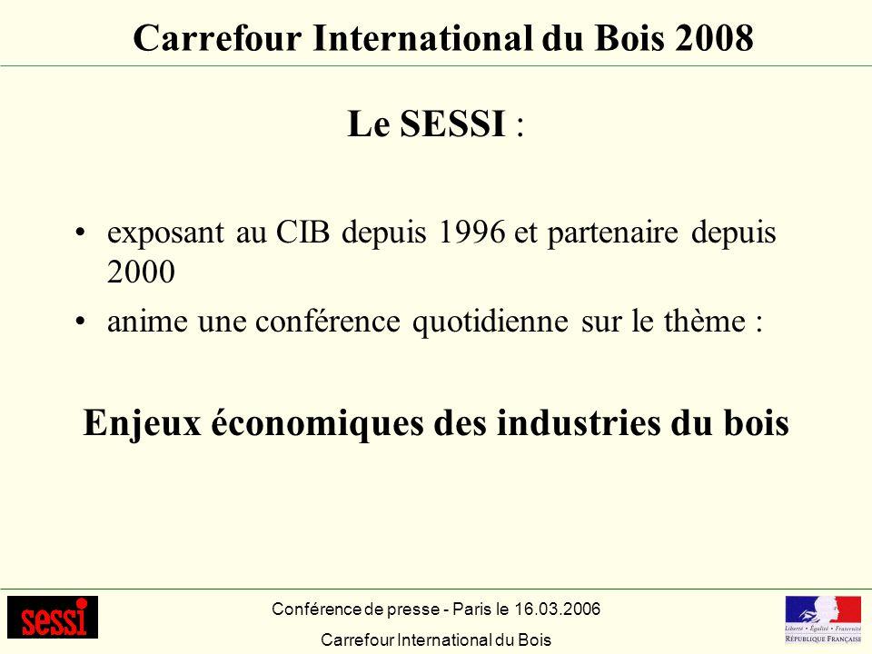 Carrefour International du Bois 2008 Le SESSI : exposant au CIB depuis 1996 et partenaire depuis 2000 anime une conférence quotidienne sur le thème :