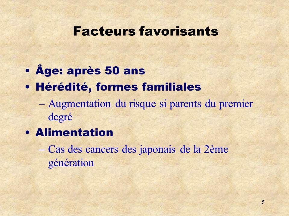 5 Facteurs favorisants Âge: après 50 ans Hérédité, formes familiales –Augmentation du risque si parents du premier degré Alimentation –Cas des cancers des japonais de la 2ème génération