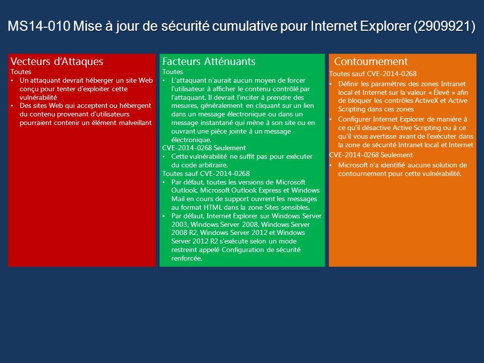 Mise à jour de sécurité cumulative pour Internet Explorer (2909921) MS14-010 Mise à jour de sécurité cumulative pour Internet Explorer (2909921) Vecteurs dAttaques Toutes Un attaquant devrait héberger un site Web conçu pour tenter d exploiter cette vulnérabilité Des sites Web qui acceptent ou hébergent du contenu provenant d utilisateurs pourraient contenir un élément malveillant Facteurs Atténuants Toutes L attaquant n aurait aucun moyen de forcer l utilisateur à afficher le contenu contrôlé par l attaquant.