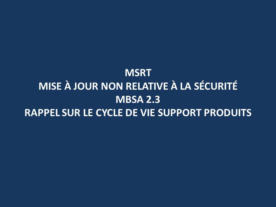 MSRT MISE À JOUR NON RELATIVE À LA SÉCURITÉ MBSA 2.3 RAPPEL SUR LE CYCLE DE VIE SUPPORT PRODUITS