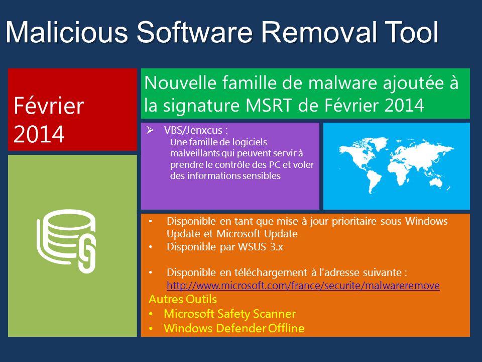Malicious Software Removal Tool Février 2014 Nouvelle famille de malware ajoutée à la signature MSRT de Février 2014 VBS/Jenxcus : Une famille de logiciels malveillants qui peuvent servir à prendre le contrôle des PC et voler des informations sensibles Disponible en tant que mise à jour prioritaire sous Windows Update et Microsoft Update Disponible par WSUS 3.x Disponible en téléchargement à l adresse suivante : http://www.microsoft.com/france/securite/malwareremove http://www.microsoft.com/france/securite/malwareremove Autres Outils Microsoft Safety Scanner Windows Defender Offline