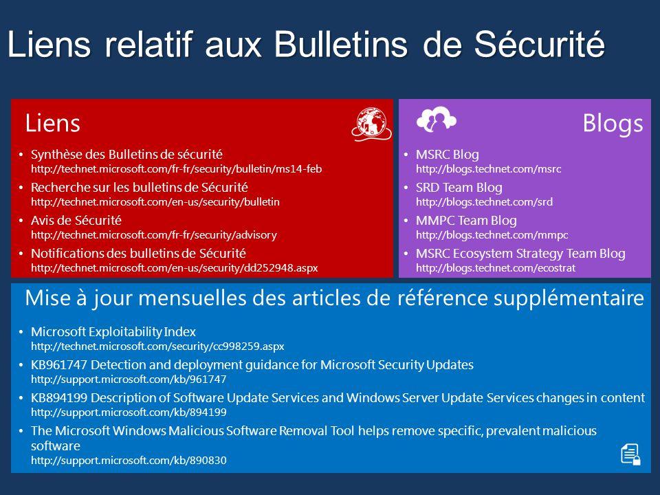Liens relatif aux Bulletins de Sécurité Liens Synthèse des Bulletins de sécurité http://technet.microsoft.com/fr-fr/security/bulletin/ms14-feb Recherche sur les bulletins de Sécurité http://technet.microsoft.com/en-us/security/bulletin Avis de Sécurité http://technet.microsoft.com/fr-fr/security/advisory Notifications des bulletins de Sécurité http://technet.microsoft.com/en-us/security/dd252948.aspx Blogs MSRC Blog http://blogs.technet.com/msrc SRD Team Blog http://blogs.technet.com/srd MMPC Team Blog http://blogs.technet.com/mmpc MSRC Ecosystem Strategy Team Blog http://blogs.technet.com/ecostrat Mise à jour mensuelles des articles de référence supplémentaire Microsoft Exploitability Index http://technet.microsoft.com/security/cc998259.aspx KB961747 Detection and deployment guidance for Microsoft Security Updates http://support.microsoft.com/kb/961747 KB894199 Description of Software Update Services and Windows Server Update Services changes in content http://support.microsoft.com/kb/894199 The Microsoft Windows Malicious Software Removal Tool helps remove specific, prevalent malicious software http://support.microsoft.com/kb/890830