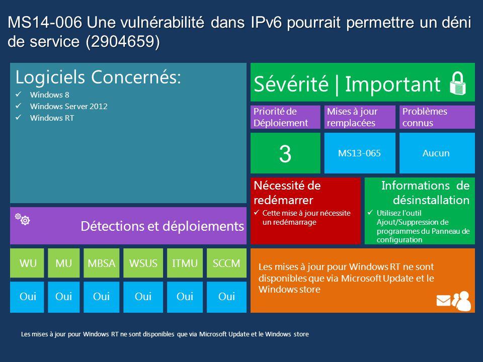MS14-006 Une vulnérabilité dans IPv6 pourrait permettre un déni de service (2904659) Logiciels Concernés: Windows 8 Windows Server 2012 Windows RT Sévérité | Important Priorité de Déploiement Mises à jour remplacées Problèmes connus 3 MS13-065Aucun Nécessité de redémarrer Cette mise à jour nécessite un redémarrage Informations de désinstallation Utilisez l outil Ajout/Suppression de programmes du Panneau de configuration Détections et déploiements WUMUMBSAWSUSITMUSCCM Les mises à jour pour Windows RT ne sont disponibles que via Microsoft Update et le Windows store Oui Les mises à jour pour Windows RT ne sont disponibles que via Microsoft Update et le Windows store