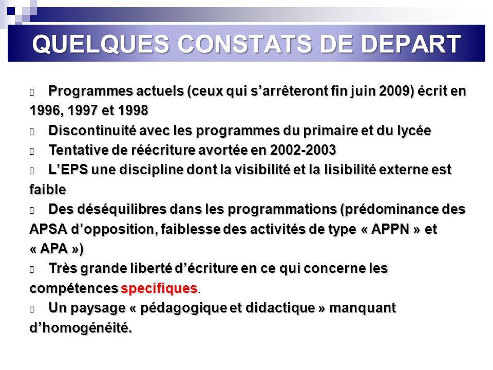 QUELQUES CONSTATS DE DEPART l Programmes actuels (ceux qui sarrêteront fin juin 2009) écrit en 1996, 1997 et 1998 l Discontinuité avec les programmes
