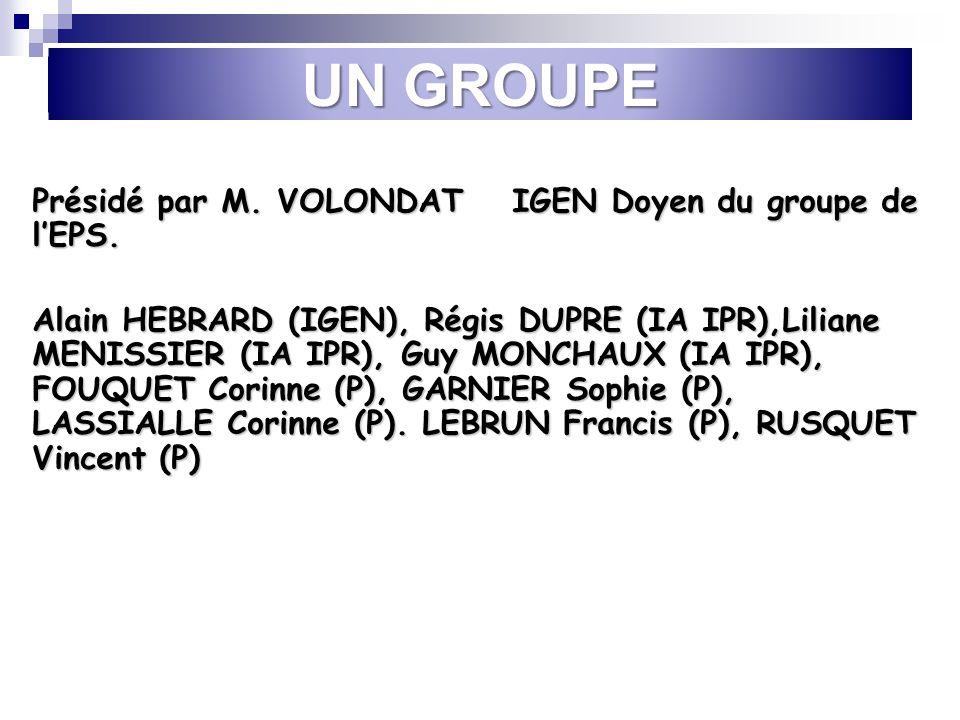 UN GROUPE Présidé par M. VOLONDAT IGEN Doyen du groupe de lEPS. Alain HEBRARD (IGEN), Régis DUPRE (IA IPR),Liliane MENISSIER (IA IPR), Guy MONCHAUX (I