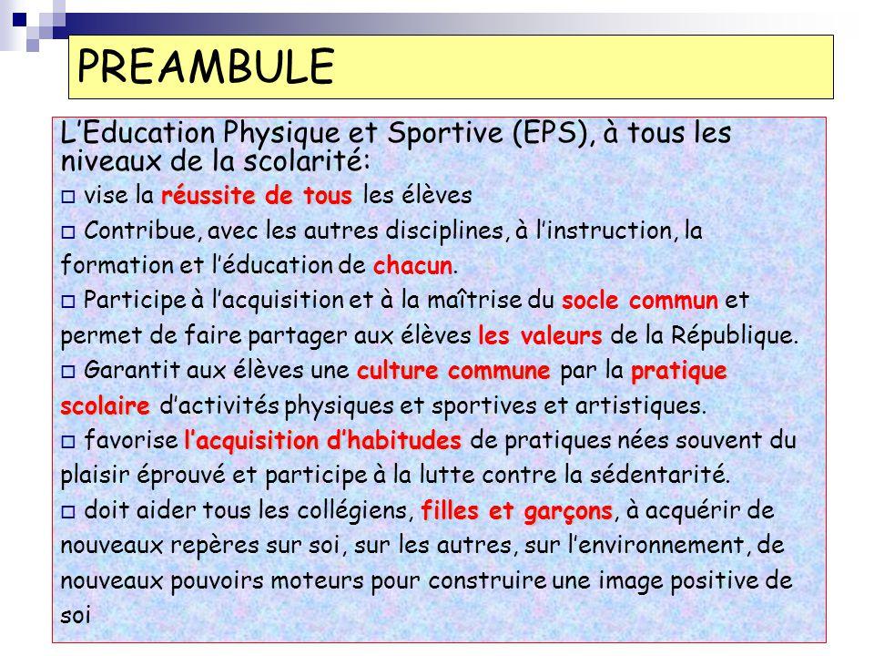 PREAMBULE LEducation Physique et Sportive (EPS), à tous les niveaux de la scolarité: réussite de tous vise la réussite de tous les élèves Contribue, a