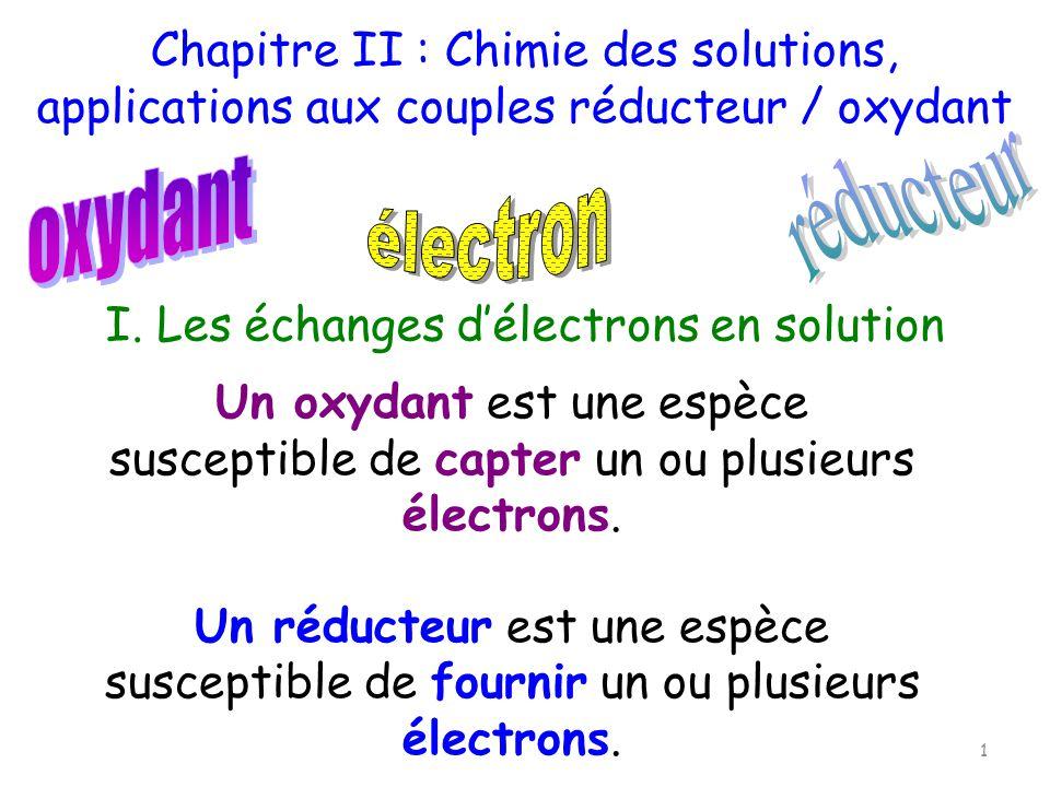 I. Les échanges délectrons en solution Un oxydant est une espèce susceptible de capter un ou plusieurs électrons. Un réducteur est une espèce suscepti