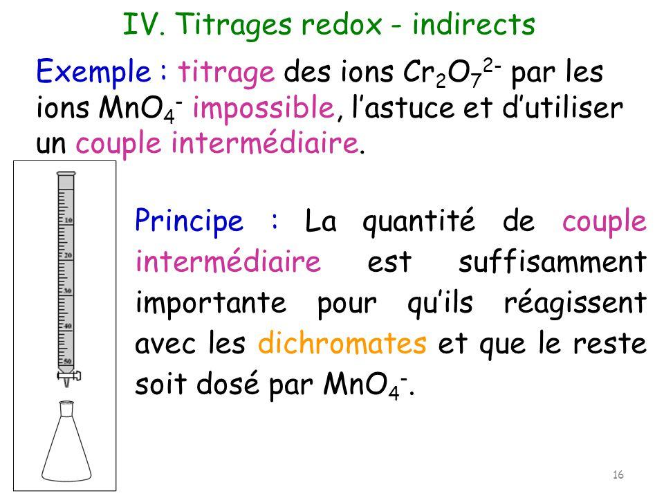 Exemple : titrage des ions Cr 2 O 7 2- par les ions MnO 4 - impossible, lastuce et dutiliser un couple intermédiaire. IV. Titrages redox - indirects P