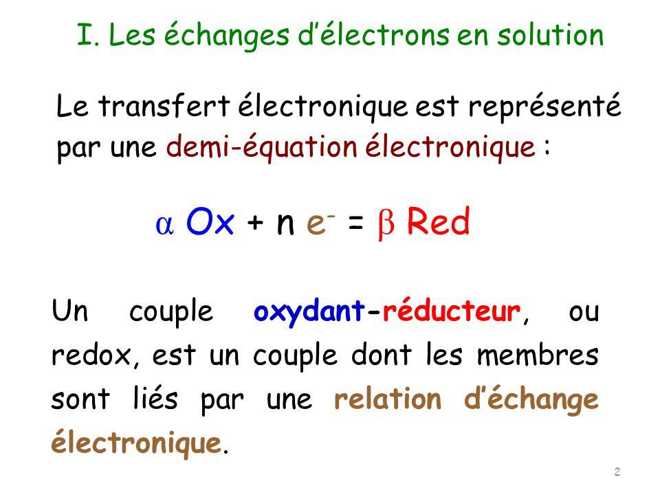 Le transfert électronique est représenté par une demi-équation électronique : Un couple oxydant-réducteur, ou redox, est un couple dont les membres so