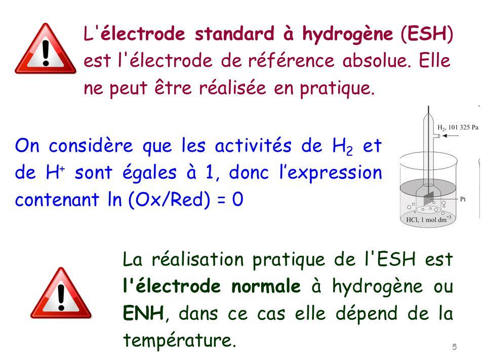L'électrode standard à hydrogène (ESH) est l'électrode de référence absolue. Elle ne peut être réalisée en pratique. On considère que les activités de