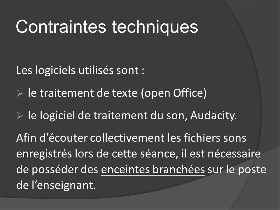 Contraintes techniques Les logiciels utilisés sont : le traitement de texte (open Office) le logiciel de traitement du son, Audacity.