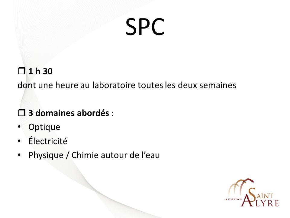 SPC 1 h 30 dont une heure au laboratoire toutes les deux semaines 3 domaines abordés : Optique Électricité Physique / Chimie autour de leau