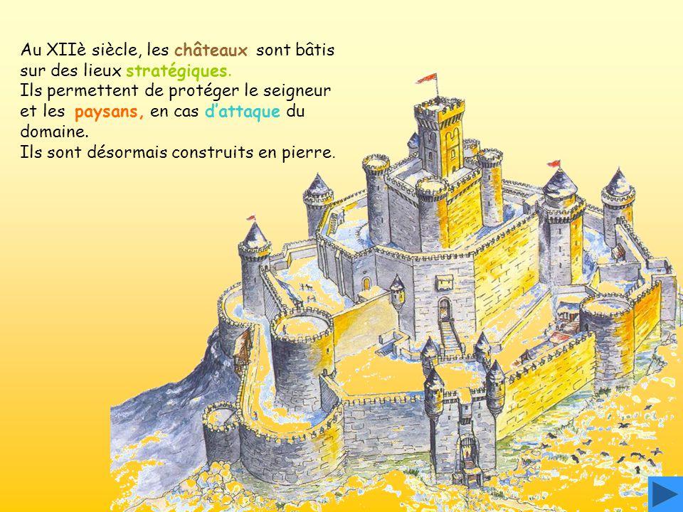 Au XIIè siècle, les châteaux sont bâtis sur des lieux stratégiques. Ils permettent de protéger le seigneur et les paysans, en cas dattaque du domaine.