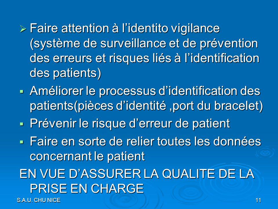 Faire attention à lidentito vigilance (système de surveillance et de prévention des erreurs et risques liés à lidentification des patients) Faire atte