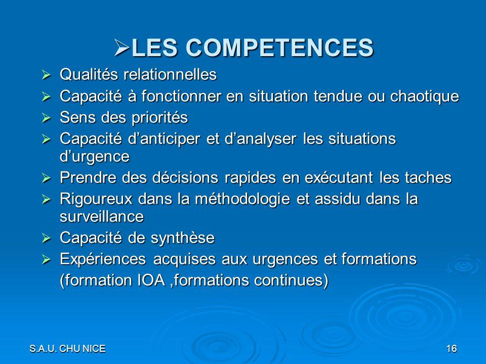 S.A.U. CHU NICE16 LES COMPETENCES LES COMPETENCES Qualités relationnelles Qualités relationnelles Capacité à fonctionner en situation tendue ou chaoti