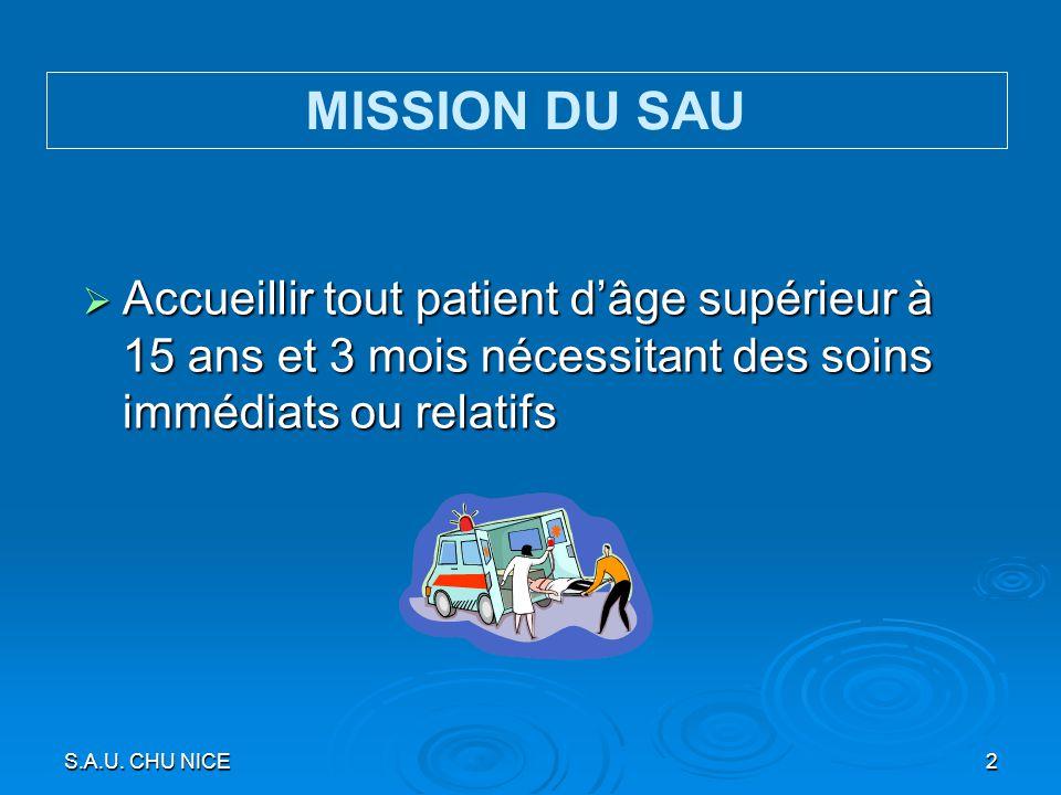 S.A.U. CHU NICE2 Accueillir tout patient dâge supérieur à 15 ans et 3 mois nécessitant des soins immédiats ou relatifs Accueillir tout patient dâge su