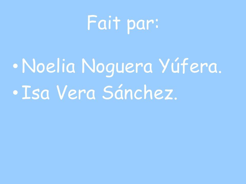 Fait par: Noelia Noguera Yúfera. Isa Vera Sánchez.