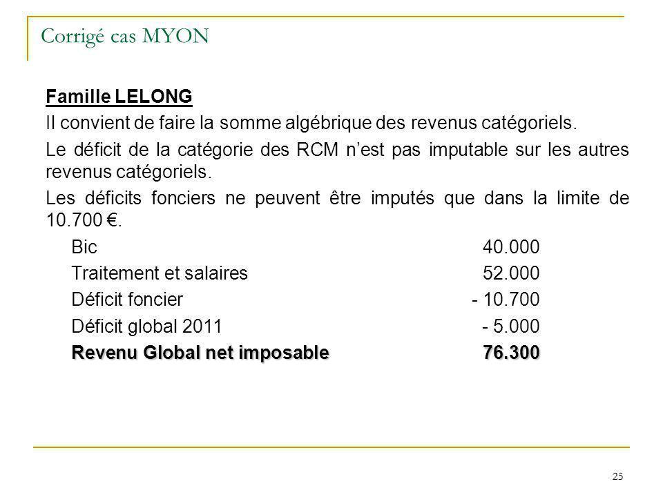 25 Corrigé cas MYON Famille LELONG Il convient de faire la somme algébrique des revenus catégoriels. Le déficit de la catégorie des RCM nest pas imput