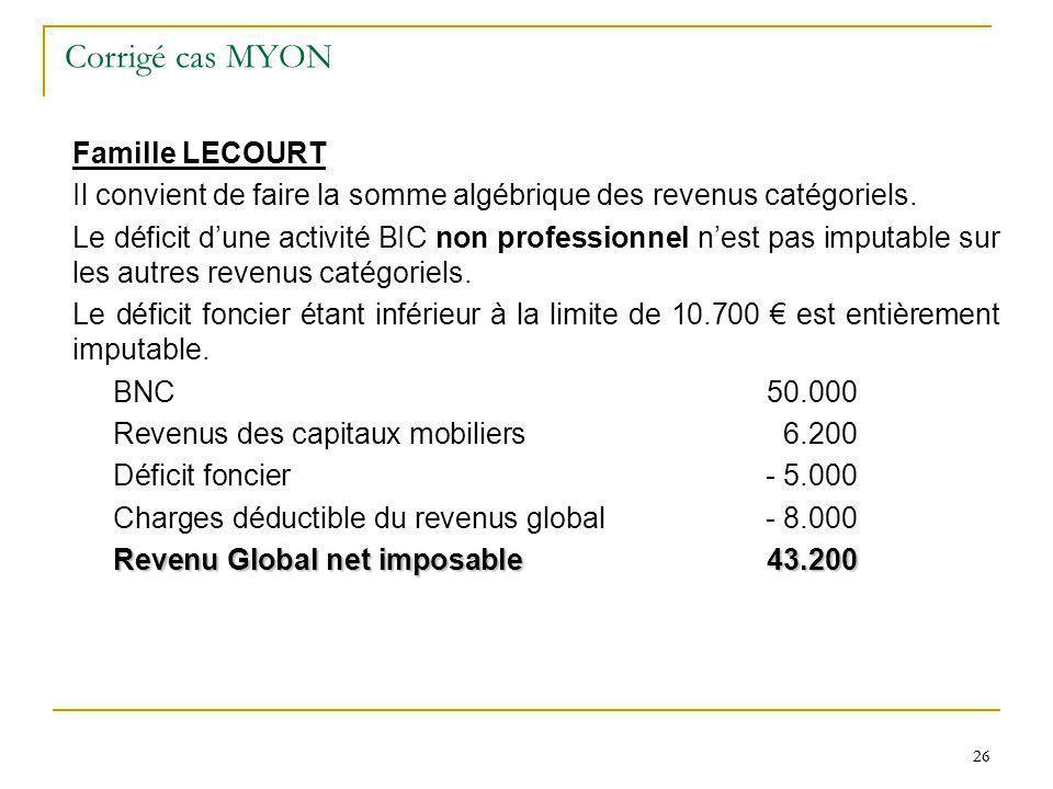 26 Corrigé cas MYON Famille LECOURT Il convient de faire la somme algébrique des revenus catégoriels. Le déficit dune activité BIC non professionnel n