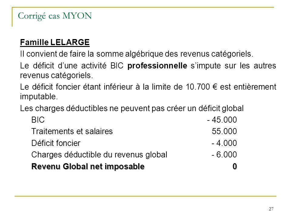 27 Corrigé cas MYON Famille LELARGE Il convient de faire la somme algébrique des revenus catégoriels. Le déficit dune activité BIC professionnelle sim