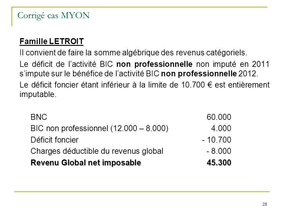 28 Corrigé cas MYON Famille LETROIT Il convient de faire la somme algébrique des revenus catégoriels. Le déficit de lactivité BIC non professionnelle