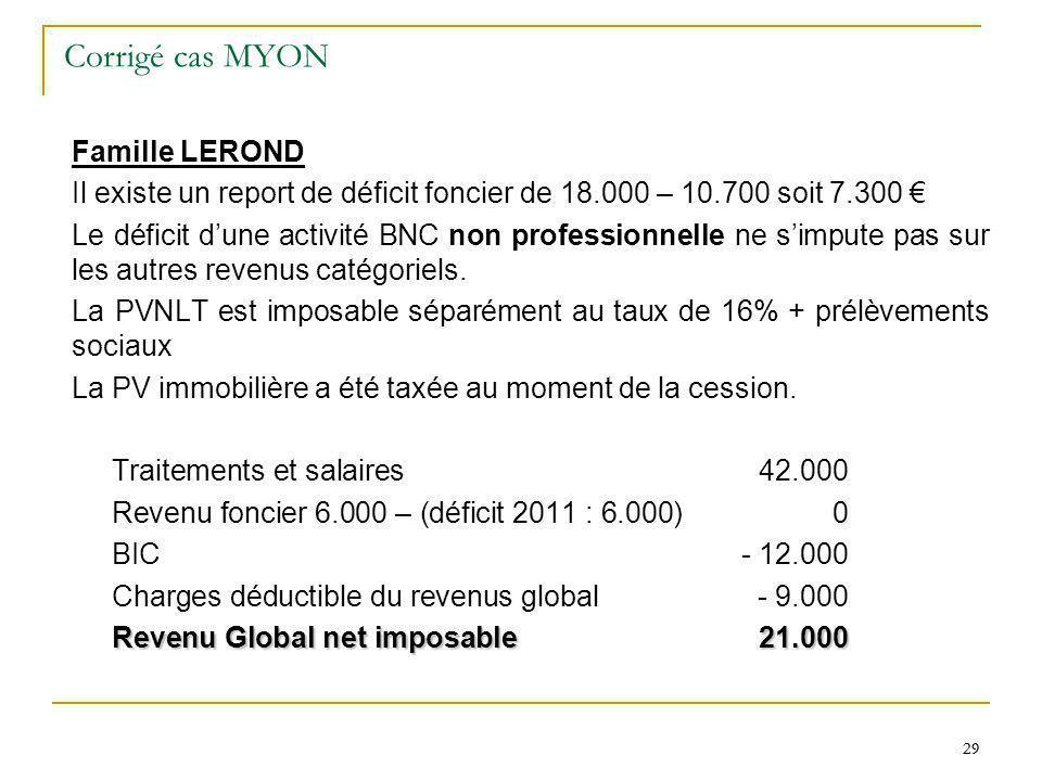29 Corrigé cas MYON Famille LEROND Il existe un report de déficit foncier de 18.000 – 10.700 soit 7.300 Le déficit dune activité BNC non professionnel