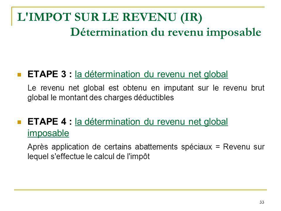 33 L'IMPOT SUR LE REVENU (IR) Détermination du revenu imposable ETAPE 3 : la détermination du revenu net global Le revenu net global est obtenu en imp