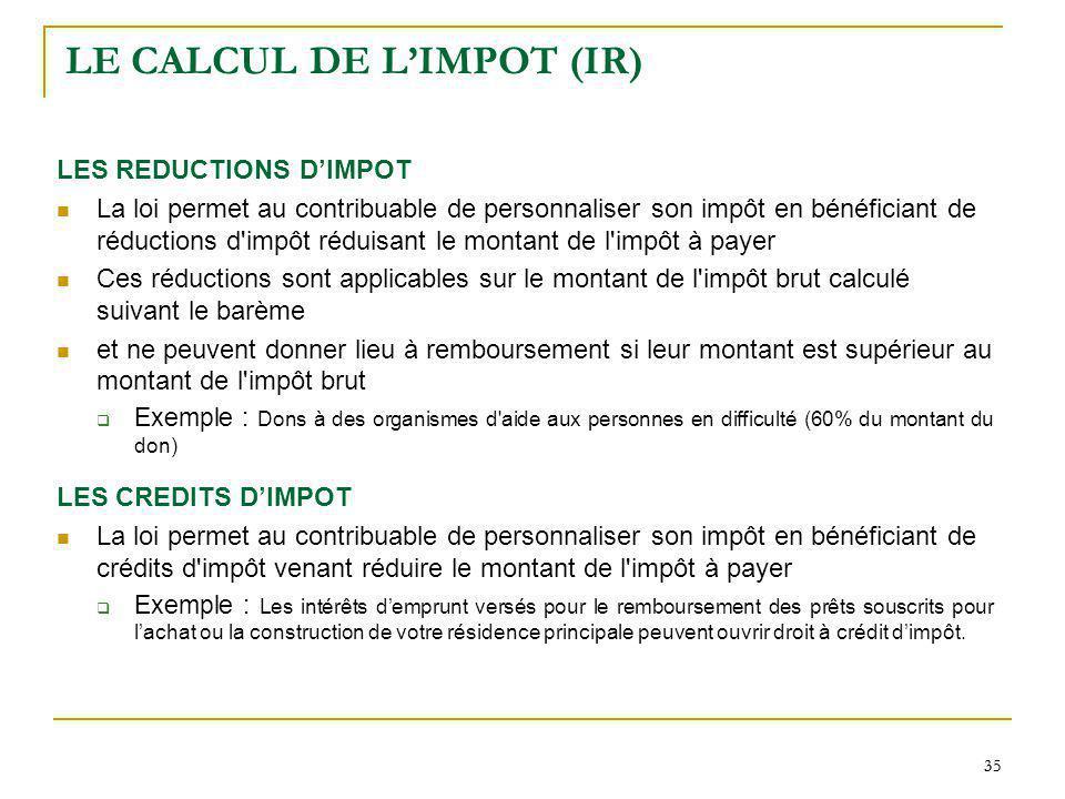 35 LE CALCUL DE LIMPOT (IR) LES REDUCTIONS DIMPOT La loi permet au contribuable de personnaliser son impôt en bénéficiant de réductions d'impôt réduis