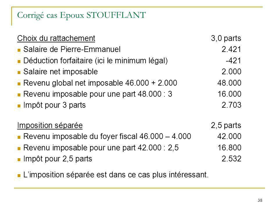38 Corrigé cas Epoux STOUFFLANT Choix du rattachement3,0 parts Salaire de Pierre-Emmanuel 2.421 Déduction forfaitaire (ici le minimum légal)-421 Salai