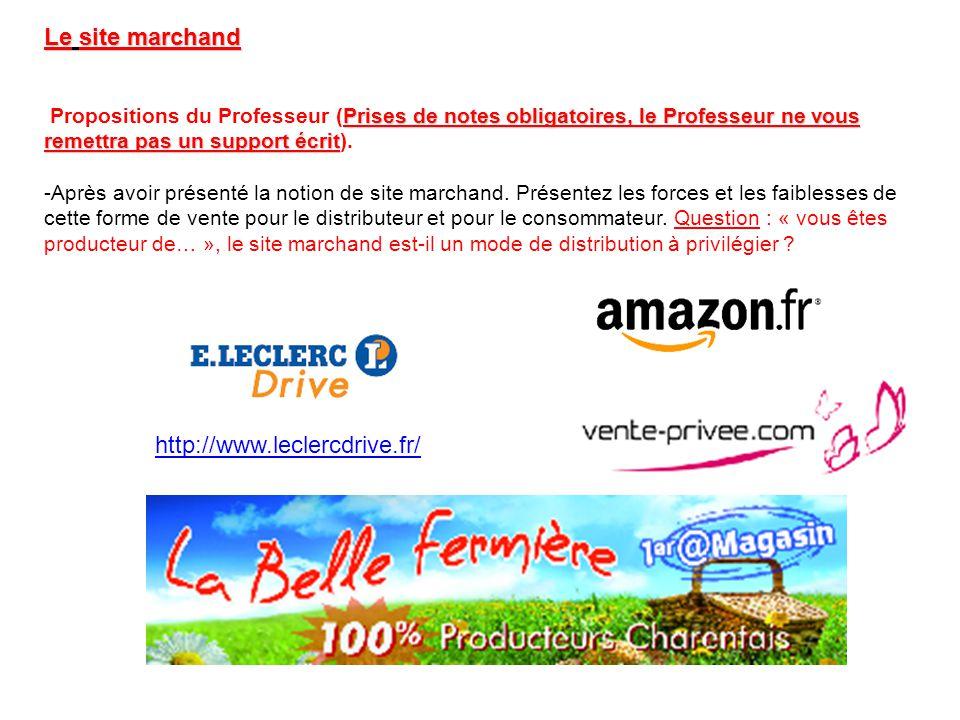 Le site marchand Prises de notes obligatoires, le Professeur ne vous remettra pas un support écrit Propositions du Professeur (Prises de notes obligat