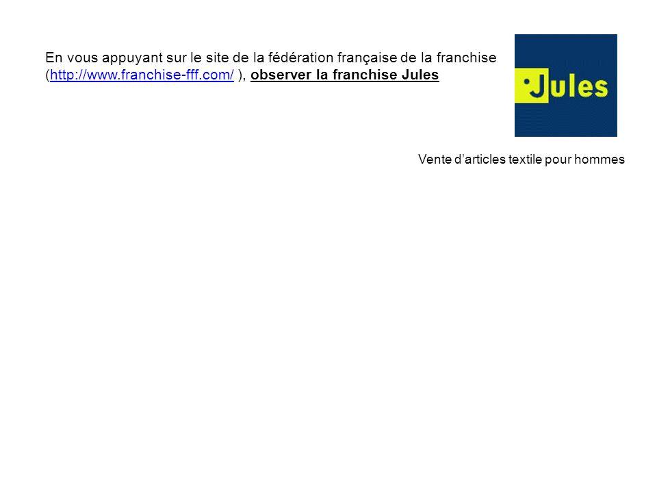 En vous appuyant sur le site de la fédération française de la franchise (http://www.franchise-fff.com/ ), observer la franchise Juleshttp://www.franch
