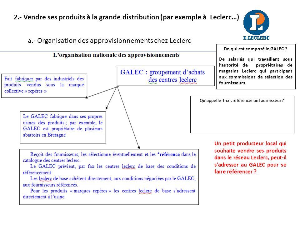 2.- Vendre ses produits à la grande distribution (par exemple à Leclerc…) a.- Organisation des approvisionnements chez Leclerc Quappelle-t-on, référencer un fournisseur .