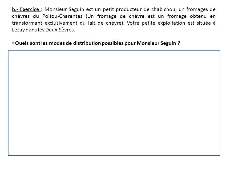b.- Exercice : Monsieur Seguin est un petit producteur de chabichou, un fromages de chèvres du Poitou-Charentes (Un fromage de chèvre est un fromage obtenu en transformant exclusivement du lait de chèvre).