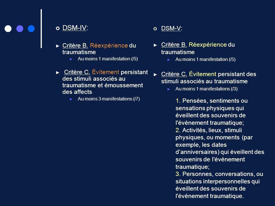 DSM-IV: Critère B. Réexpérience du traumatisme Au moins 1 manifestation (/5) Critère C. Évitement persistant des stimuli associés au traumatisme et ém