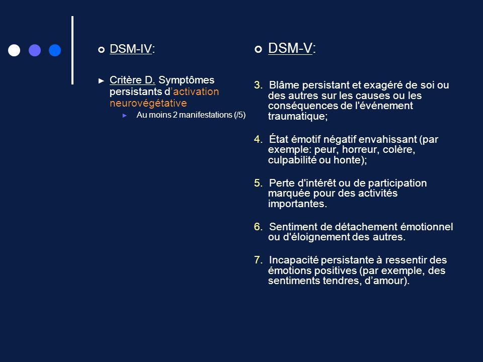 DSM-IV: Critère D. Symptômes persistants dactivation neurovégétative Au moins 2 manifestations (/5) DSM-V: 3. Blâme persistant et exagéré de soi ou de