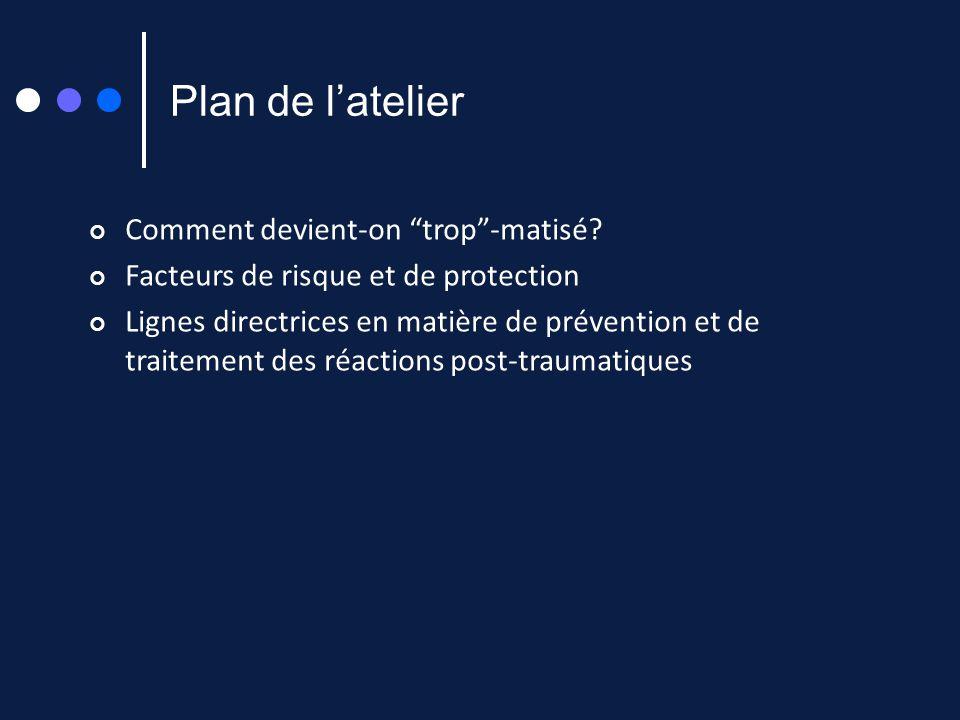 Plan de latelier Comment devient-on trop-matisé? Facteurs de risque et de protection Lignes directrices en matière de prévention et de traitement des