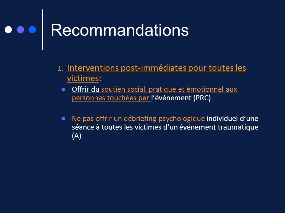 Recommandations 1. Interventions post-immédiates pour toutes les victimes: Offrir du soutien social, pratique et émotionnel aux personnes touchées par