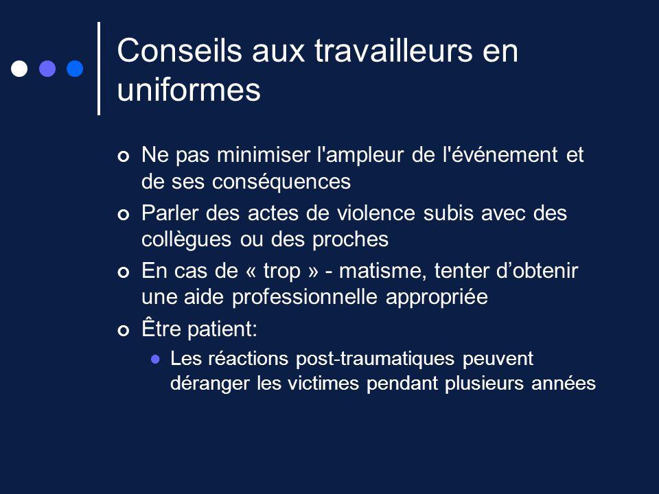 Conseils aux travailleurs en uniformes Ne pas minimiser l'ampleur de l'événement et de ses conséquences Parler des actes de violence subis avec des co