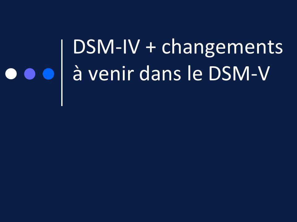DSM-IV + changements à venir dans le DSM-V