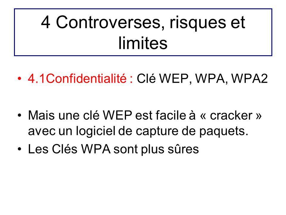 4 Controverses, risques et limites 4.1Confidentialité : Clé WEP, WPA, WPA2 Mais une clé WEP est facile à « cracker » avec un logiciel de capture de pa