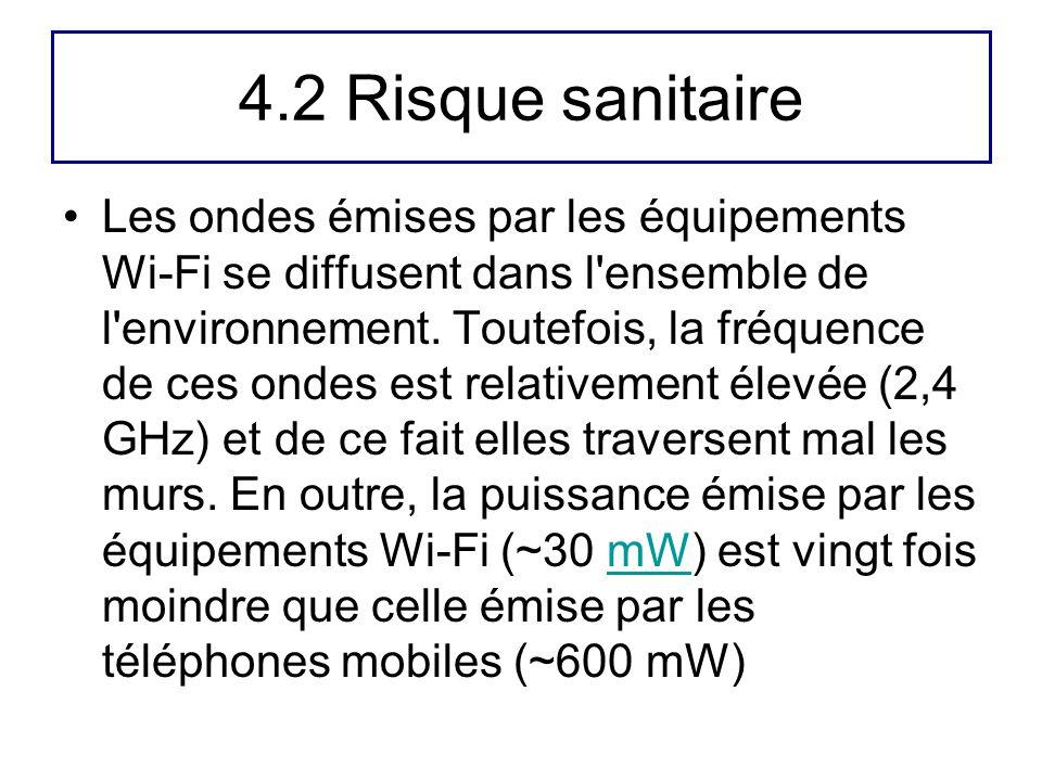 4.2 Risque sanitaire Les ondes émises par les équipements Wi-Fi se diffusent dans l'ensemble de l'environnement. Toutefois, la fréquence de ces ondes