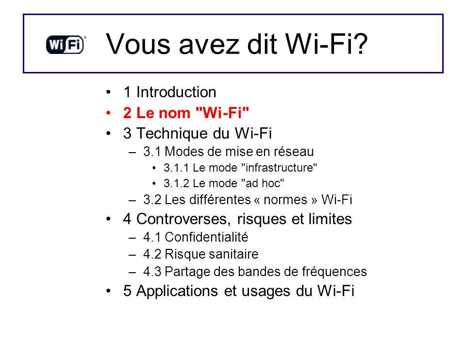 Vous avez dit Wi-Fi? 1 Introduction 2 Le nom