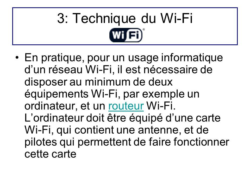 3: Technique du Wi-Fi En pratique, pour un usage informatique dun réseau Wi-Fi, il est nécessaire de disposer au minimum de deux équipements Wi-Fi, pa
