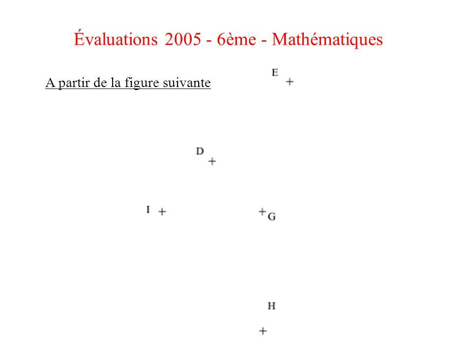 Évaluations 2005 - 6ème - Mathématiques A partir de la figure suivante