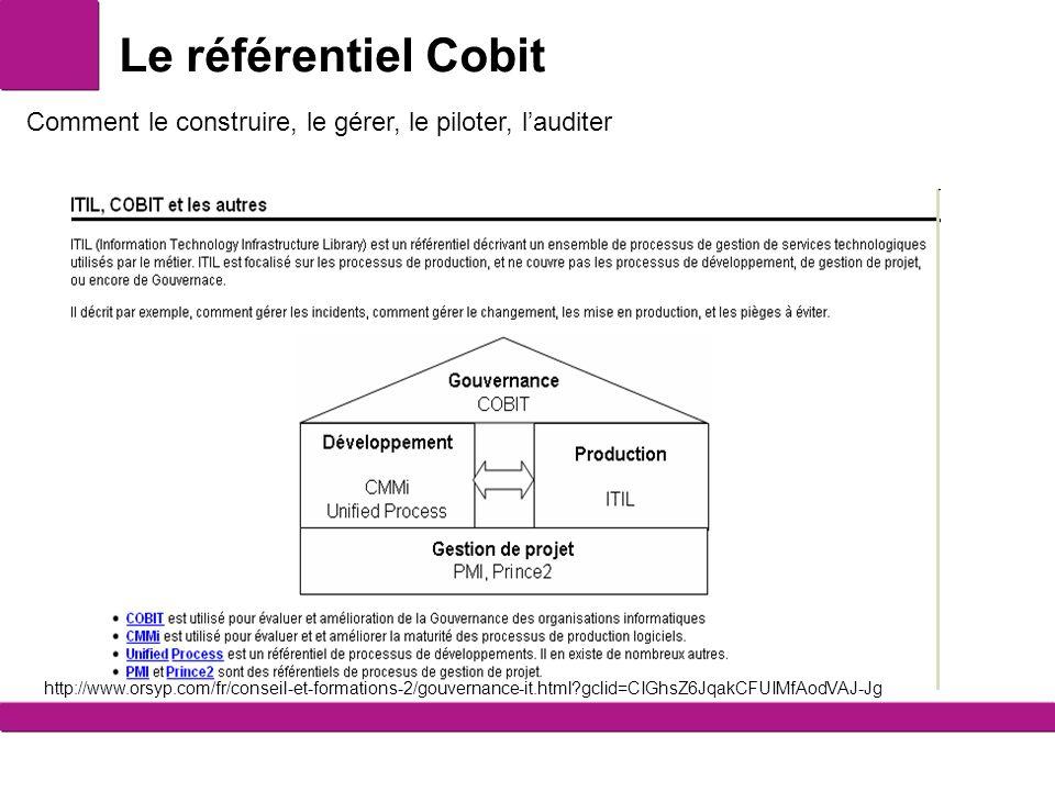 Le référentiel Cobit Comment le construire, le gérer, le piloter, lauditer http://www.orsyp.com/fr/conseil-et-formations-2/gouvernance-it.html?gclid=CIGhsZ6JqakCFUIMfAodVAJ-Jg