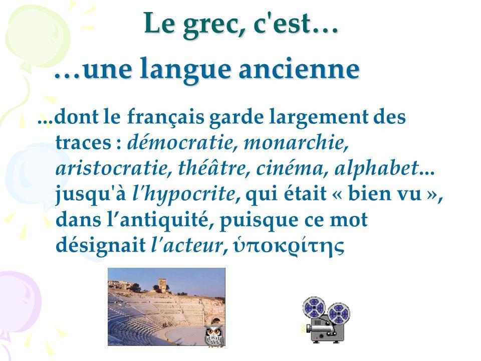 Le grec, c est…...dont le français garde largement des traces : démocratie, monarchie, aristocratie, théâtre, cinéma, alphabet...