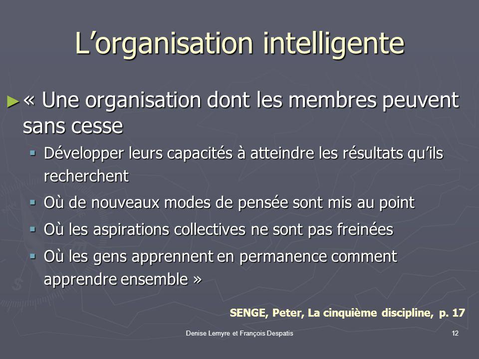 Denise Lemyre et François Despatis12 Lorganisation intelligente « Une organisation dont les membres peuvent sans cesse « Une organisation dont les mem