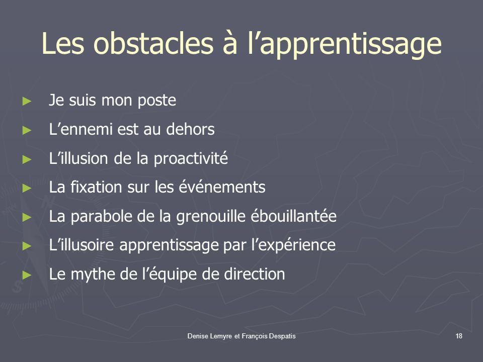 Denise Lemyre et François Despatis18 Les obstacles à lapprentissage Je suis mon poste Lennemi est au dehors Lillusion de la proactivité La fixation su