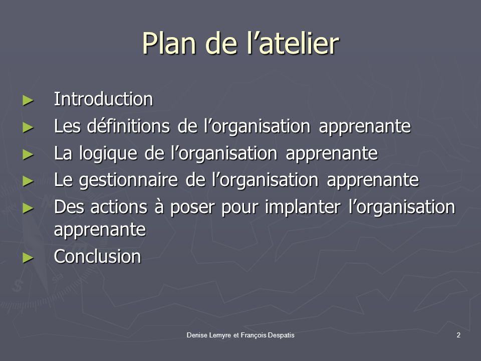 Denise Lemyre et François Despatis2 Plan de latelier Introduction Introduction Les définitions de lorganisation apprenante Les définitions de lorganis