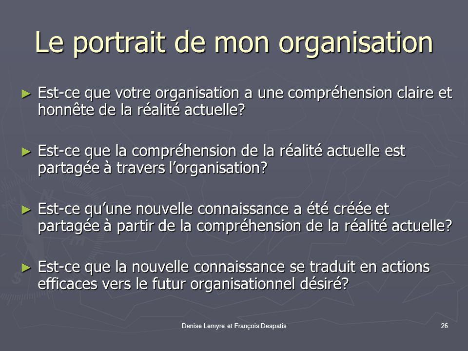 Denise Lemyre et François Despatis26 Le portrait de mon organisation Est-ce que votre organisation a une compréhension claire et honnête de la réalité